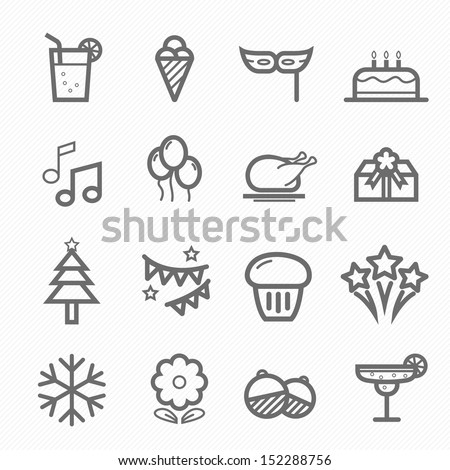 Party symbol line icon on white background vector illustration - stock vector