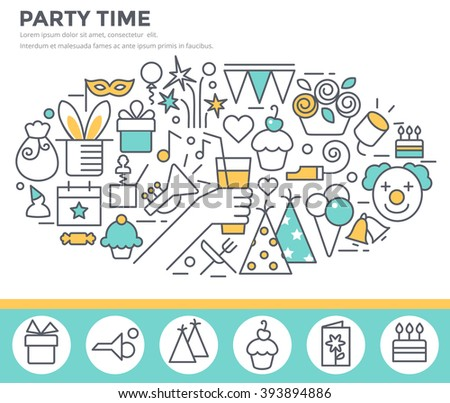 Party time concept illustration, thin line flat design - stock vector