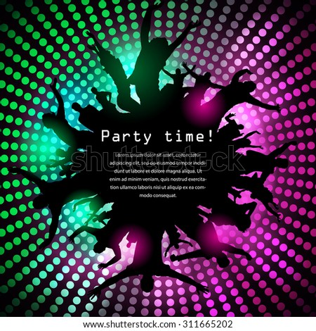 Party time disco background with jumping people silhouettes - stock vector