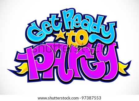 Party time invitation background. Vector graffiti urban art