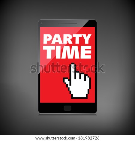 Party time words display on High-quality smartphone screen.
