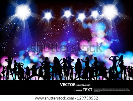 Party Vector, banner neon light stage background - stock vector
