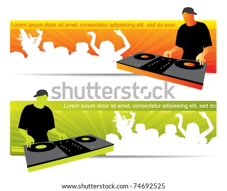 Party website banners with dj and crowd in two color variations - stock vector