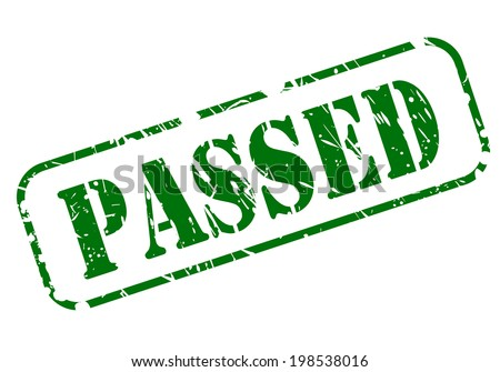PASSED stamp with green text on white background - stock vector