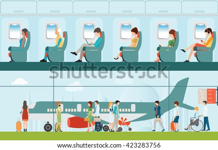 Passenger airline in airport terminal and Airline interior with plane seat and airplane passengers on the flight business travel vector illustration. - stock vector