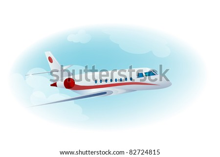 passenger airplane in the cloudy  blue sky - stock vector