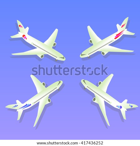 Passenger Airplane. Passenger Airliner. Airplane freight.  Aircraft isometric on blue background. Civil Aviation. Vector illustration - stock vector