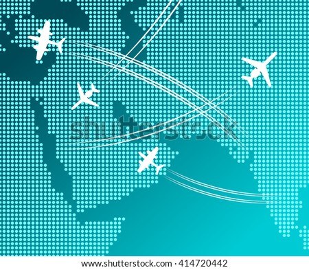 Passenger and cargo airplanes flying in blue sky with white flight tracks over abstract map. May be use as travel by plane concept, business trip or transportation service design - stock vector