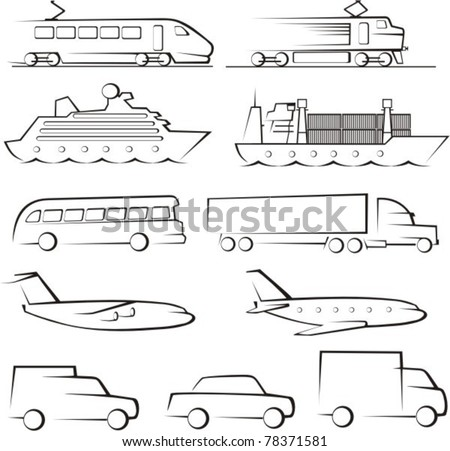 passenger ang cargo transportation contours - stock vector