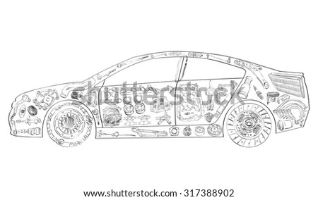 Passenger car assembled from new auto, spare parts. Spare parts for shop, aftermarket. Car with spare parts. New spare parts for shop. Many auto spare parts for car. Isolated auto spare parts - stock vector