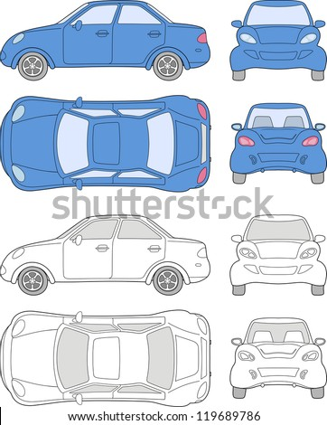 Passenger car (colored and outlined top, side, back, front view), isolated on white background - stock vector