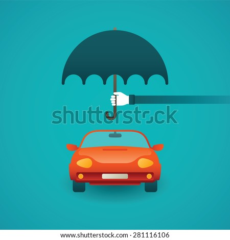 Passenger car insurance vector concept in flat style - stock vector