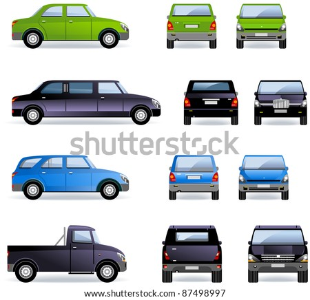 Passenger cars (part 1). Set of the car icons in vector. In the side, front and back views.  - stock vector