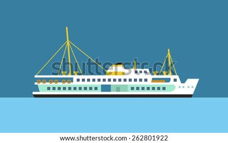 Passenger ferry ship of Izmir flat vector icon. - stock vector