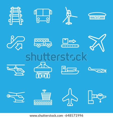 Passenger icons set. set of 16 passenger outline icons such as plane, airport bus, escalator up, jetway, helicopter, airport, railway, cargo plane back view, luggage scan