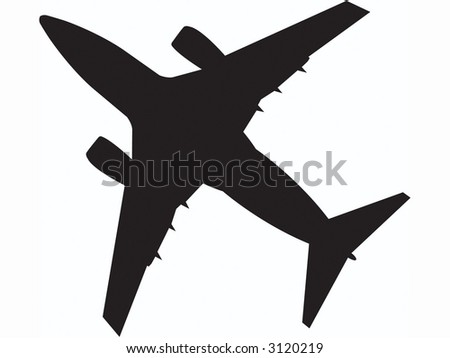passenger jet flying overhead.  fully editable vector. - stock vector