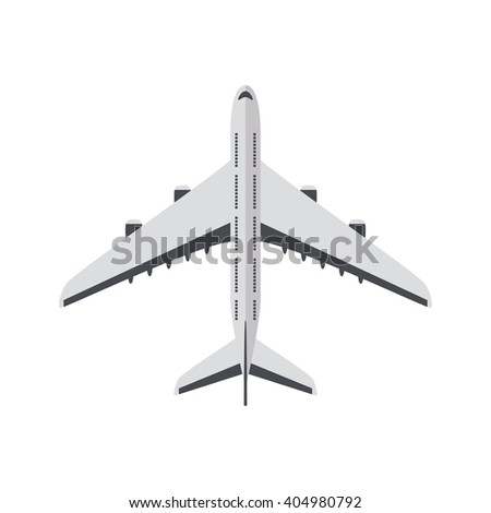 Passenger plane isolated on white background. Plane top view. Plane flat icon. Plane icon. Passenger plane icon. Vector plane. White plane icon. Real plane. Plane closeup. Flying plane. Airplane icon - stock vector