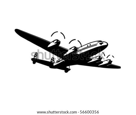 Passenger Plane - Retro Clip Art - stock vector
