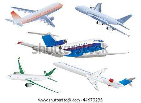 Passenger planes. Vector illustration - stock vector