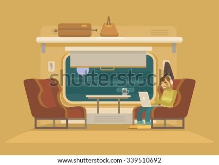 Passenger train. Vector flat illustration - stock vector