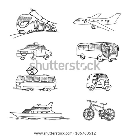 Passenger transport . Doodle set. Isolated on a white background. - stock vector