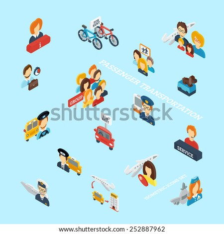 Passenger transportation isometric icons set with 3d transport symbols vector illustration - stock vector