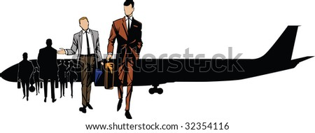 Passengers of the plane going to the airport after air liner planting - stock vector