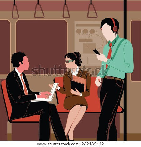 Passengers use their mobile phones in a subway train - stock vector