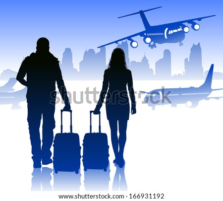 Passengers with luggage in airport against city  - stock vector