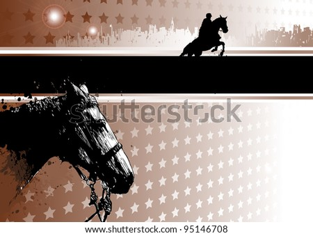 passion of horse racing - stock vector