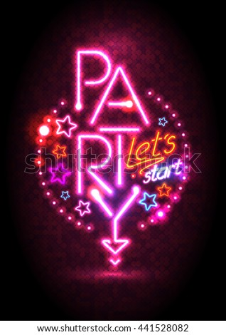 Passion pink neon lights party design, cocktail party poster  - stock vector