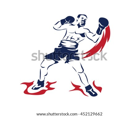 Passionate Sports Athlete In Action Logo - Boxing Uppercut On Fire Punch - stock vector