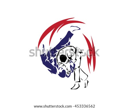 Passionate Sports Athlete In Action Logo - Winning Self Defense Judo Move - stock vector
