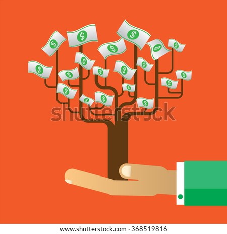 passive income concept vector Illustration, Hand holding light bulb tree. Financial and business. finance concept in flat style investing money, Idea tree in hand, creativity