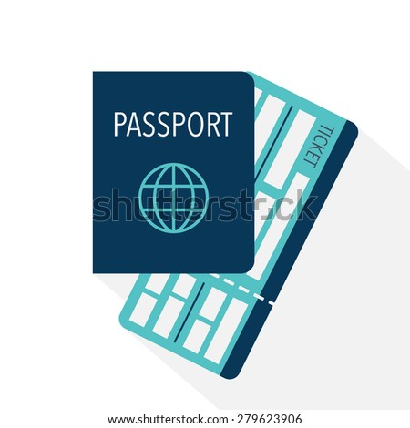 Passport and boarding pass ticket icon. Flat design. Vector illustration - stock vector