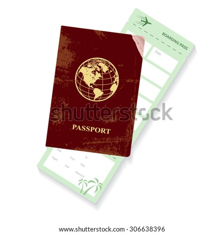passport and boarding pass vector illustration. Airplane ticket.