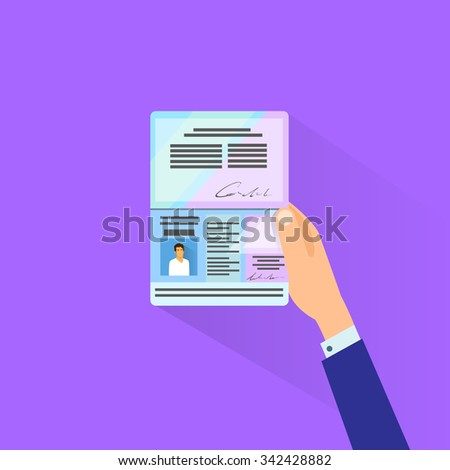 Passport Flat Icon Businessman Hand Hold Travel Identification Document Flat Vector Illustration