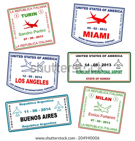Passport grunge stamps (not real passport stamps) from Turin, Miami, Los Angeles, Honolulu, Buenos Aires and Milan, vector illustration