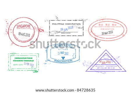 Passport stamps from Asia. Grungy stained passport page with scalable grunge stamps (not real). Asia destinations: Bangkok (Thailand), Hong Kong, Jakarta (Indonesia), Tokyo (Japan), Singapore, Manila - stock vector