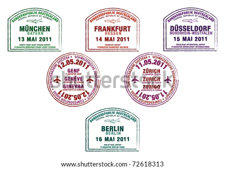 Passport stamps from Germany and Switzerland in vector format.