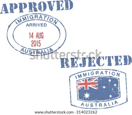 Passport stamps ''Immigration-Australia-approved/rejected''. - stock vector
