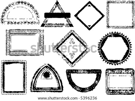 passport style stamp frames - illustration - vector - stock vector