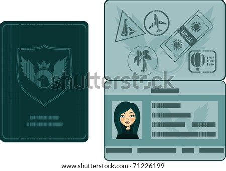 passport with biometric data and stamps - stock vector