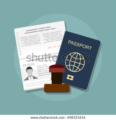 Passport with biometric data. Identification Document and stamp Flat Vector Illustration - stock vector