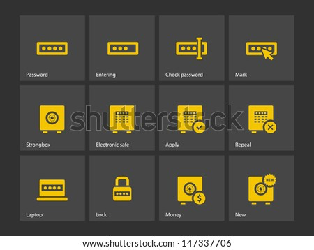 Password icons on gray background. Vector illustration. - stock vector