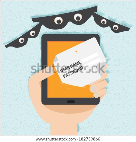 Password security and hacker, You can remove background and shadow. All parts are vector and editable.   - stock vector