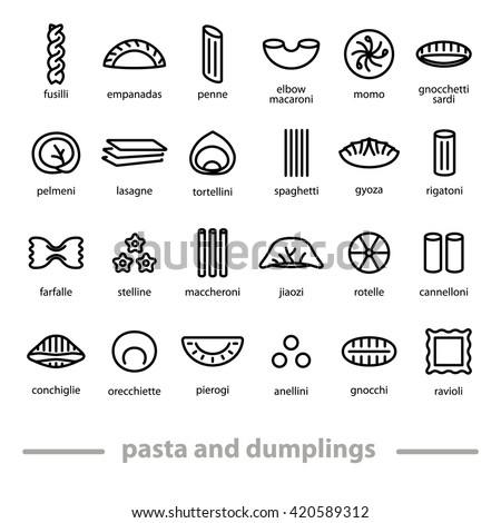 Pasta and dumplings icons. Pasta in different shapes. Mostly typical italian food. Pasta and dumplings with their names. - stock vector