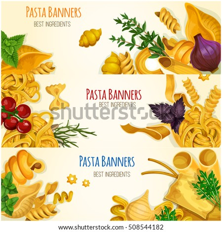 italian pasta poster different types shapes stock vector 520030672