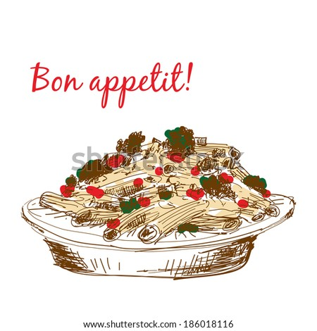 Pasta. Bon appetit. Hand drawn color illustration - stock vector