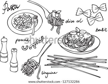 Pasta & Italian food vector set - stock vector